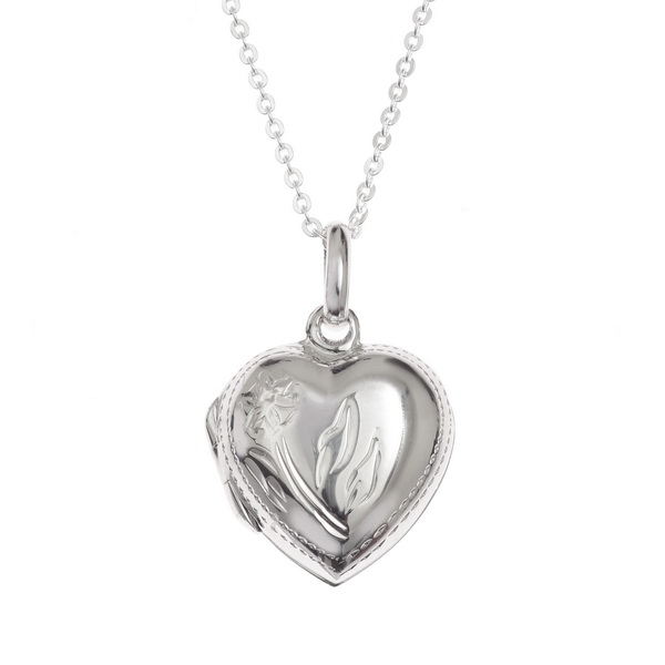 "Sterling Silver Heart Locket Necklace - Gift Boxed - 18"" Sterling Silver Chain"