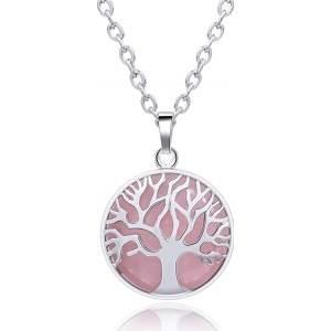 Tree of Life Rose Quartz Crystal Healing Stone Pendant Necklace