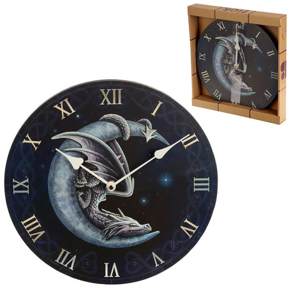 Decorative Fantasy Sweet Dreams Dragon in Moon Wall Clock