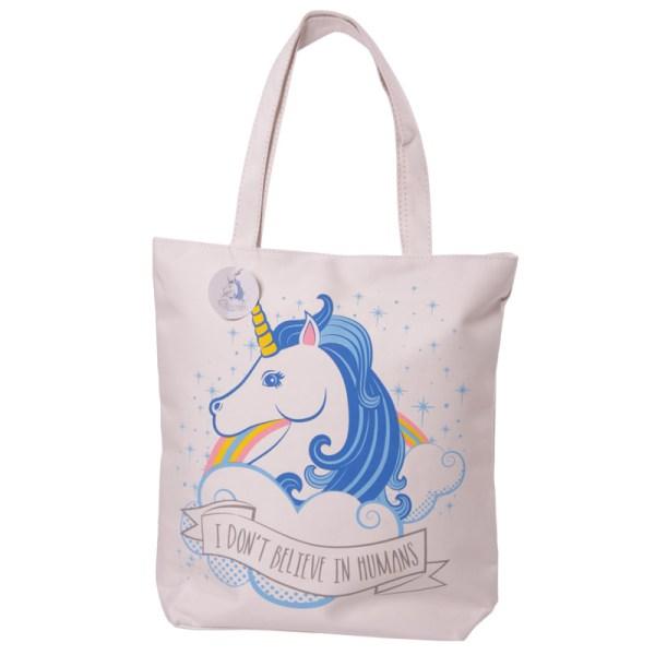 Handy Cotton Zip Up Shopping Bag Unicorn