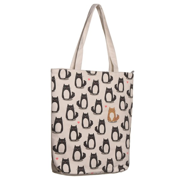Handy Zip Up Shopping Bag - Cat Design