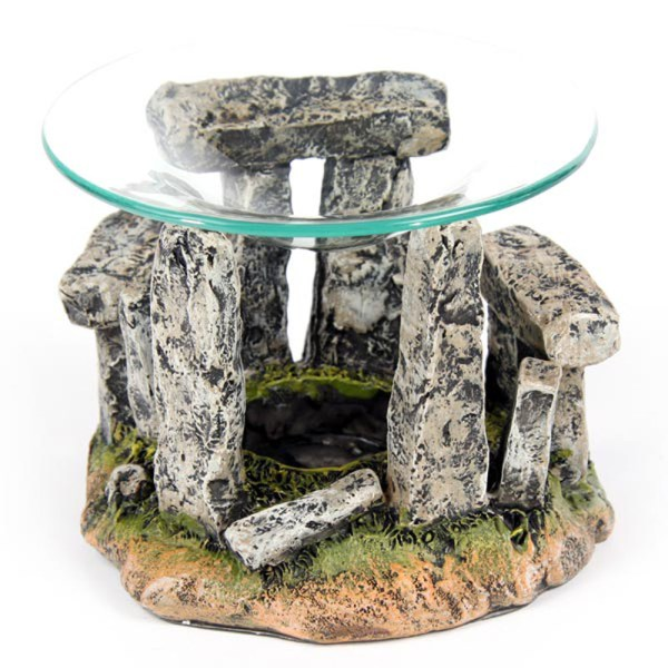 Mystical Stonehenge Design Oil Burner with Glass Dish