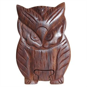 Wooden Handmade Puzzle Trinket Box (Design: Owl)