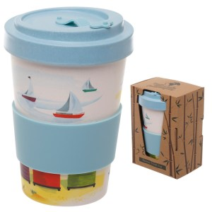 Bamboo Eco Friendly Beach Design Screw Top Travel Mug