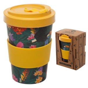 Bamboo Eco Friendly Toucan Design Screw Top Travel Mug