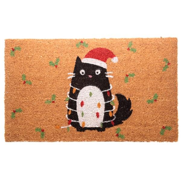Coir Door Mat - Festive Feline Cat Design