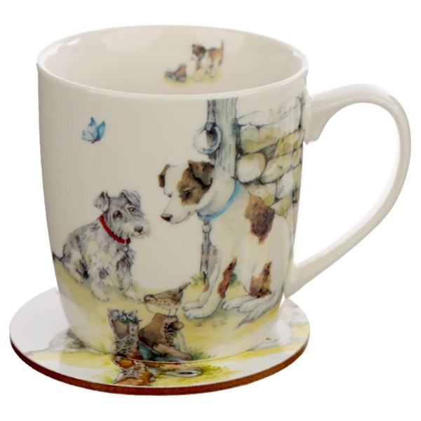 Porcelain Mug and Coaster Gift Set - Jan Pashley Dogs
