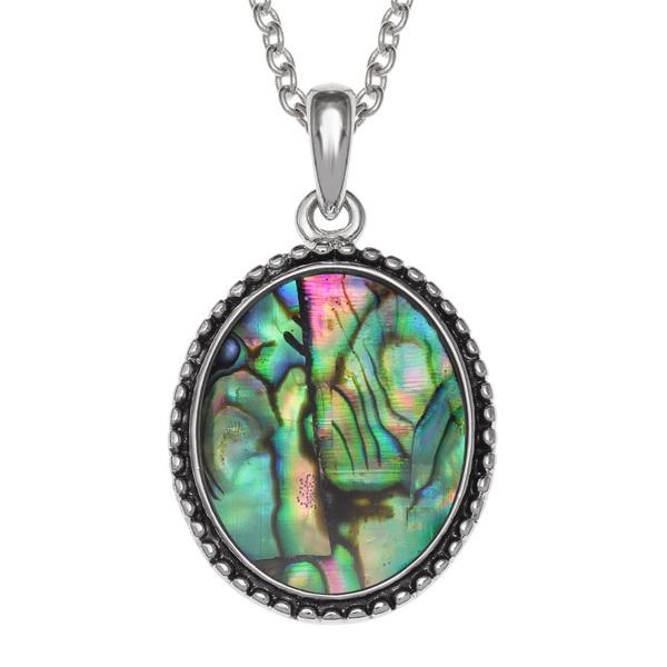 Tide Jewellery inlaid Paua shell oval Cameo shaped pendant