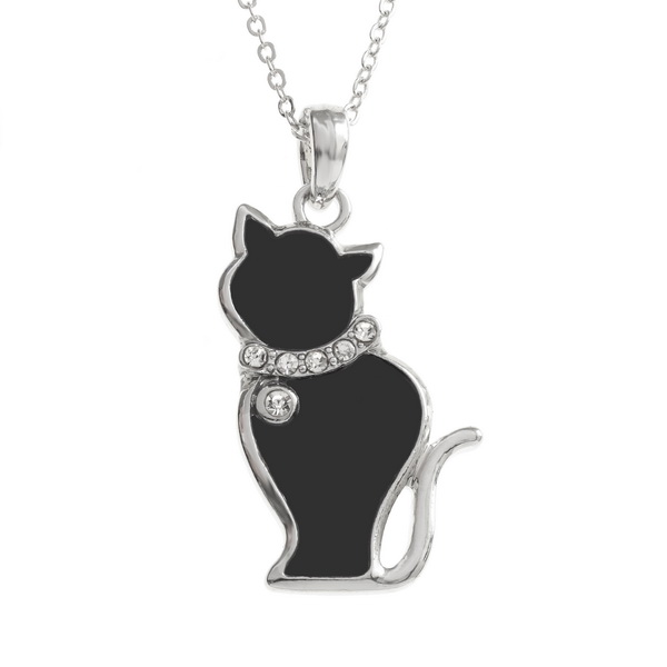 Tide Jewellery inlaid black enamel cat pendant with inset stones collar