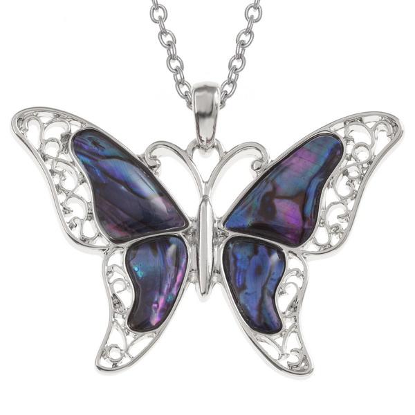 purple Paua shell butterfly pendant