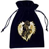 Velvet Tarot Card Bag Navy with Archangel Raphael Design