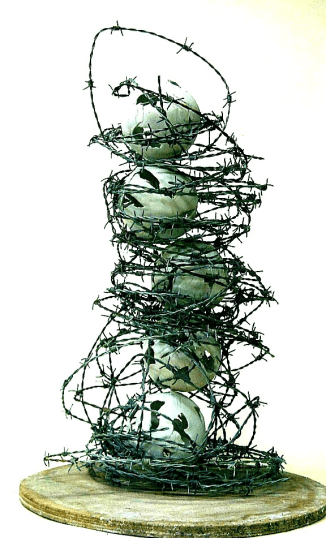 """""""Angry Worlds"""" 2014 - Handbuilt Porcelain & Barbed Wire"""