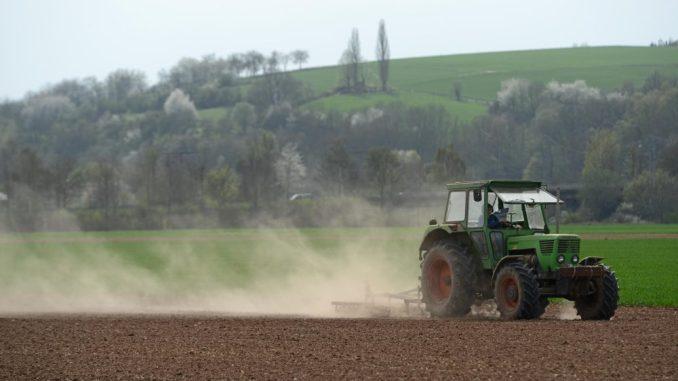 Ein Landwirt befährt sein Feld mit einem Traktor. Foto: Uwe Zucchi/Archiv