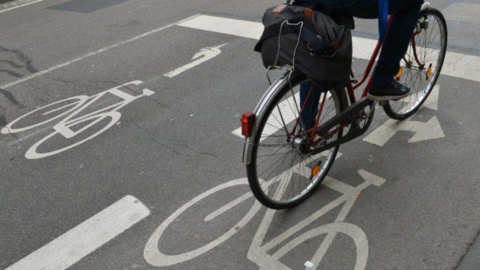 Ein Radfahrer fährt auf einem markierten Fahrradbereich einer Straße. Foto: Arne Dedert/Archiv