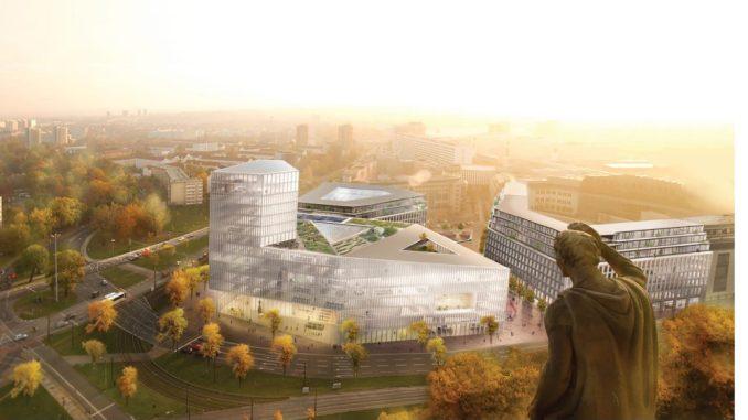 So sieht der erste Entwurf für den großen Parkplatz am Karstadt im Dresdner Zentrum aus. Foto: Barcode Architects