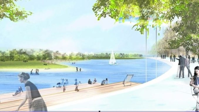 Segeln und planschen im Stausee im Ostragehege – soll es nur eine hübsche Idee bleiben? Visualisierung: Rehwaldt Landschaftsarchitekten