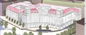 Der Plan der Bürgerinitiative sieht Schrägdächer und kleinteilige Sandsteinfassaden vor.  Visualisierung: StadtbilDD