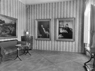 Julius-Scholtz-Zimmer, Schloss Pillnitz, Bergpalais, Interimsquartier der Dresdner Gemäldegalerie, 1947. (Foto: Sächsische Landesbibliothek – Staats-und Universitätsbibliothek / Deutsche Fotothek)