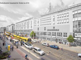 So könnte die Zentralhaltestelle Kesselsdorfer Straße aussehen. Visualisierung: BVCmedia