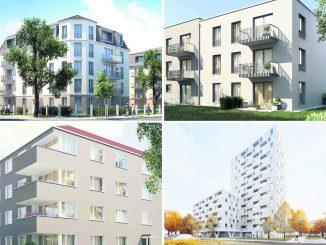 Neubauvorhaben der WiD: Alemannenstraße (o.l.), Nickerner Weg (o.r.), Ulmenstraße (u.l.) und Florian-Geyer-Straße Visualisierungen: WiD