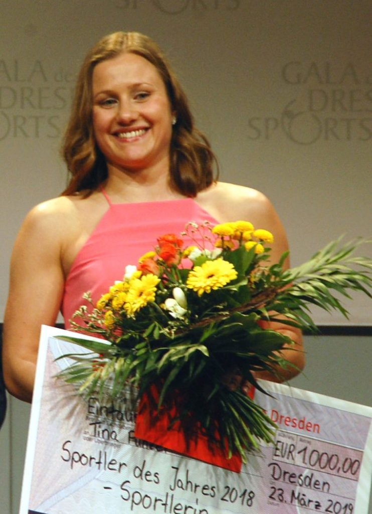Tina Punzel, Europameisterin im Mixed-Synchron vom Dreimeterbrett hatte bereits bei der Umfrage nach Sachsens Sportlern des Jahres gewonnen. Jetzt kam noch der Titel von der Stadt Dresden dazu. Foto: ekg