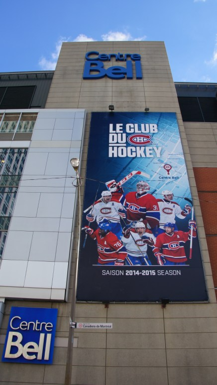 The face of the Bell Center along Avenue des Canadiens-de-Montreal. The arena is constantly sold out at its maximum capacity of 21,273 fans.