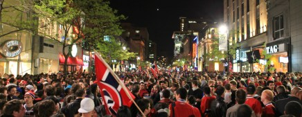 Fans celebrate a Canadiens series win in the 2010 playoffs. (Photo-Anirudh Koul)