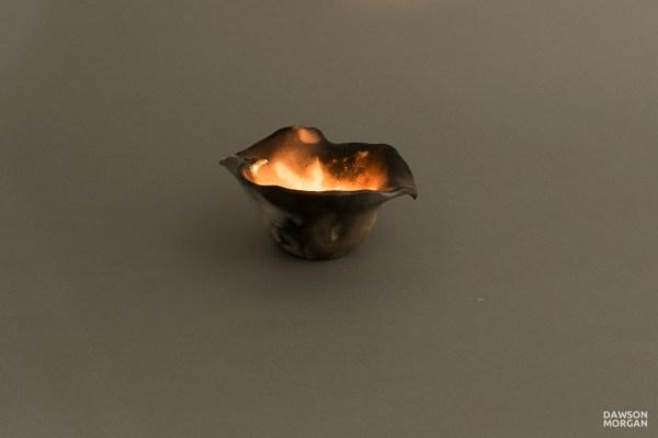 Candle Holder - Raku Small Elegant 5x5x3 Dawson Morgan