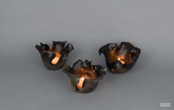 Set Of Three Candle Holders - Raku Small Dramatic