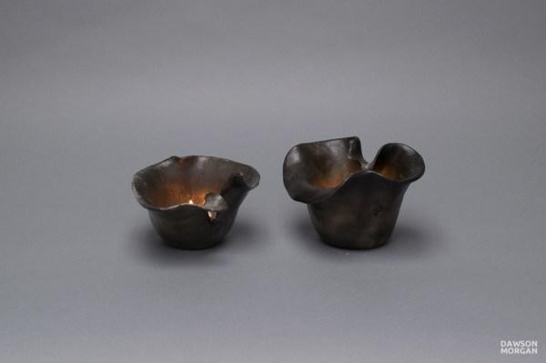 Pair Of Candle Holders - Raku Small Elegant 5x5x3