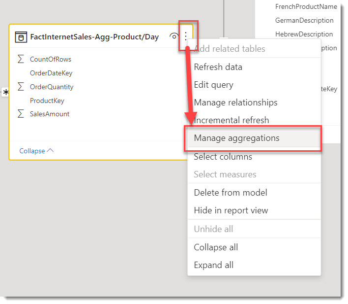 Image showing how to access the Manage Aggregation feature