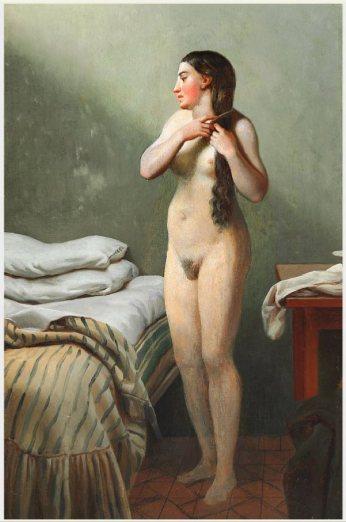 Eckersberg: Nøgen Kvinde reder sit Hår