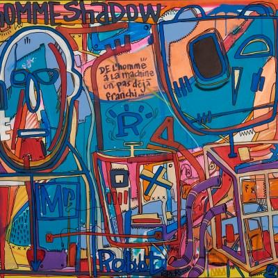art contemporain toile de Tarek Ben Yakhlef style semi abstrait