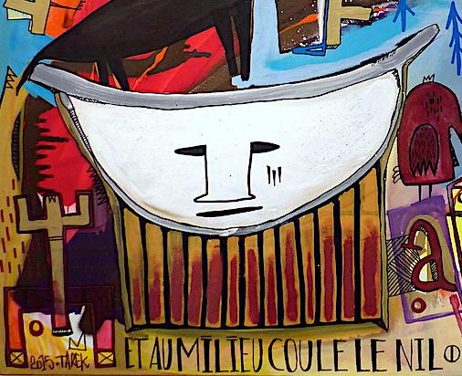 art contemporain the sky is the limit et au milieu coule le Nil Tarek Ben Yakhlef