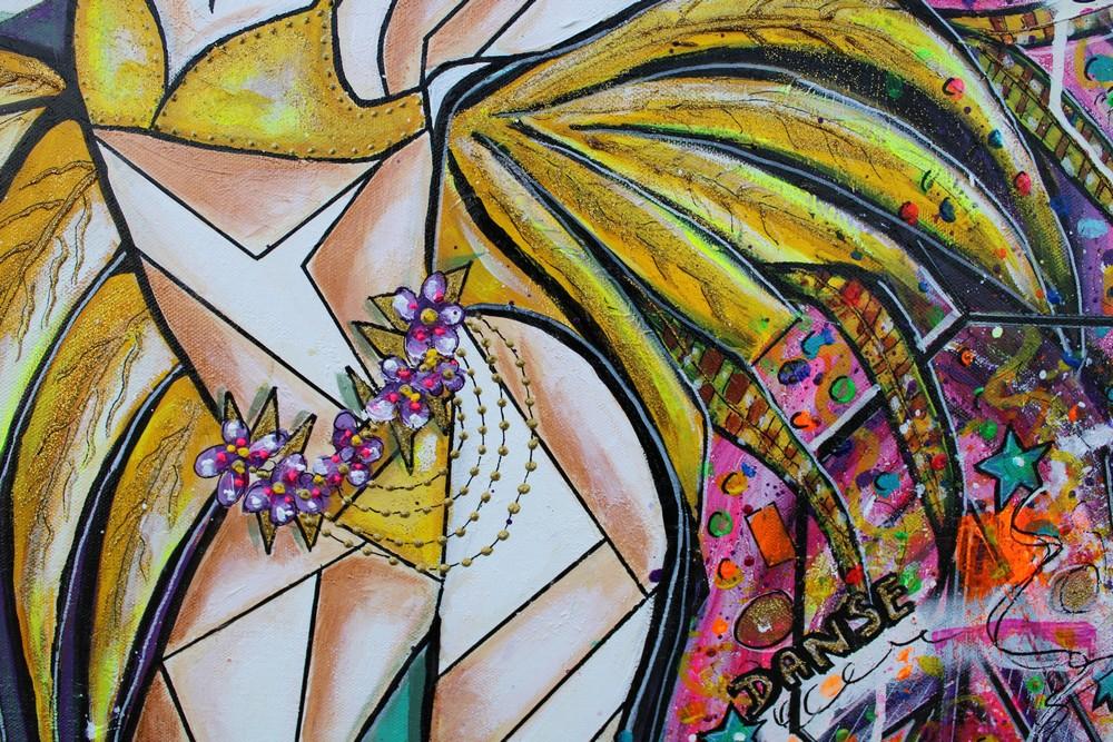 art contemporain céline lanne carnaval danseuse portrait de femme cubisme cubism cubismo