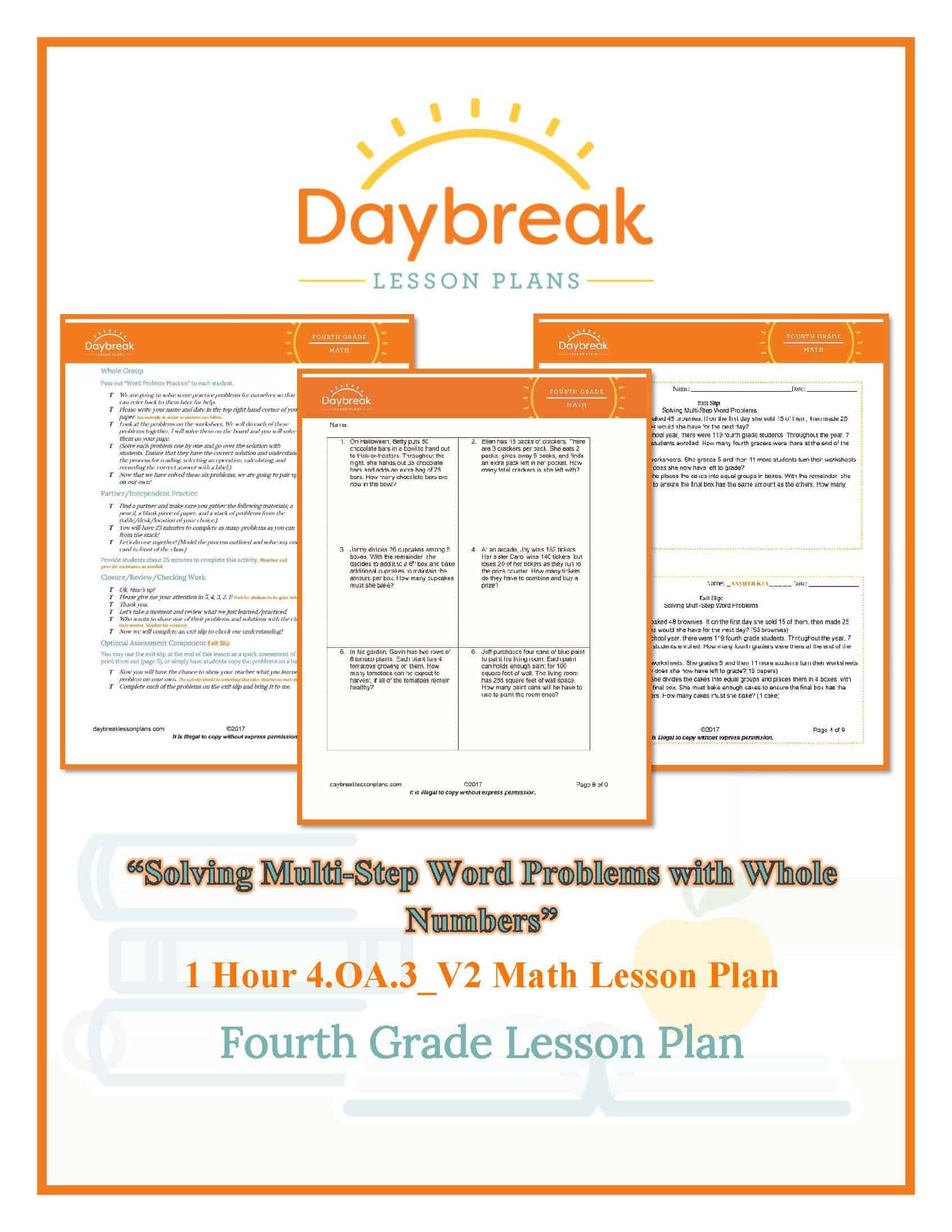 4th Grade Math Solving Multi Step Word Problems With