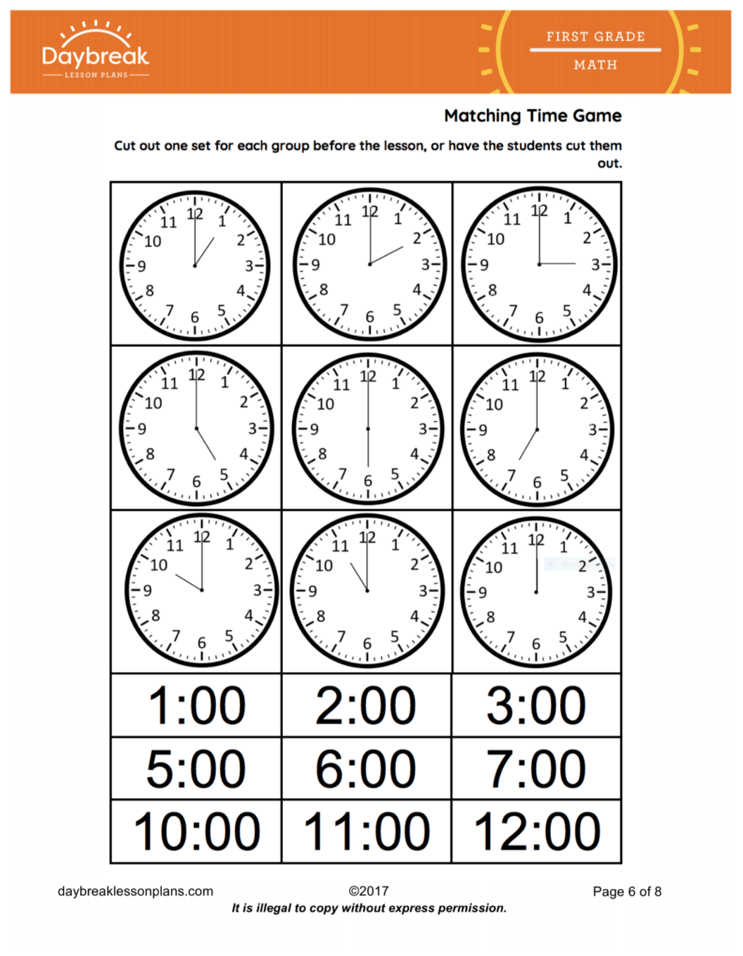Telling Time To The Nearest Hour Amp Half Hour Drawing