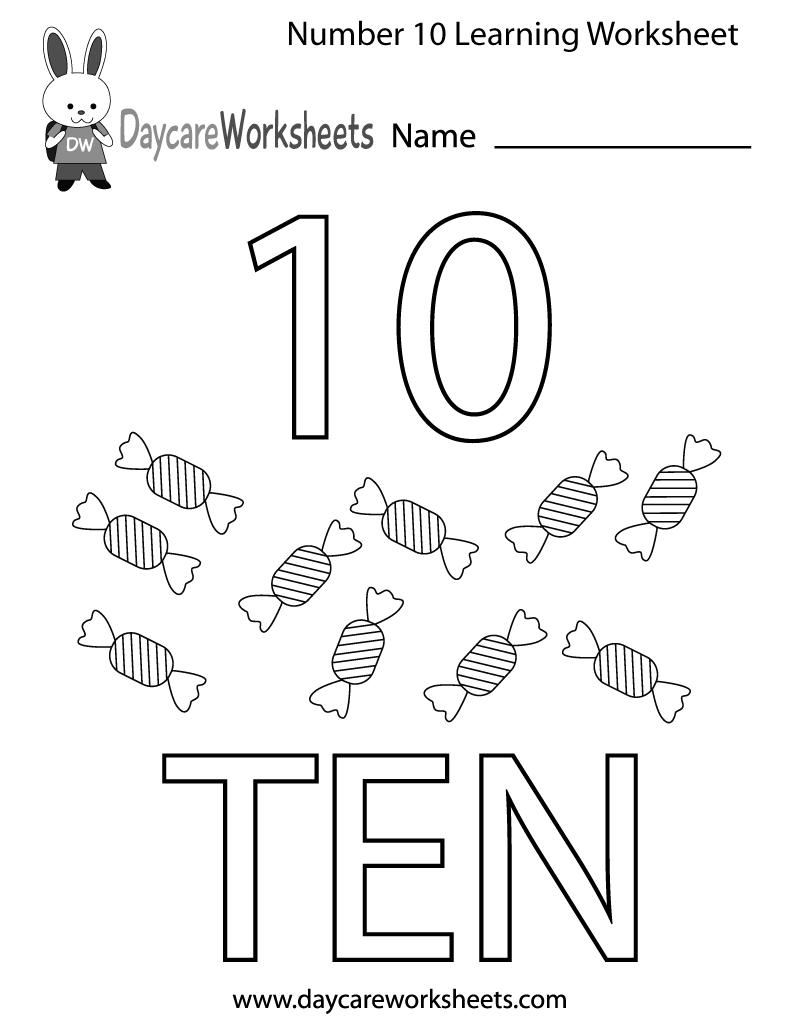 Free Preschool Number Ten Learning Worksheet