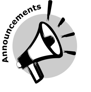 Megaphone image with the title 'announcements'.