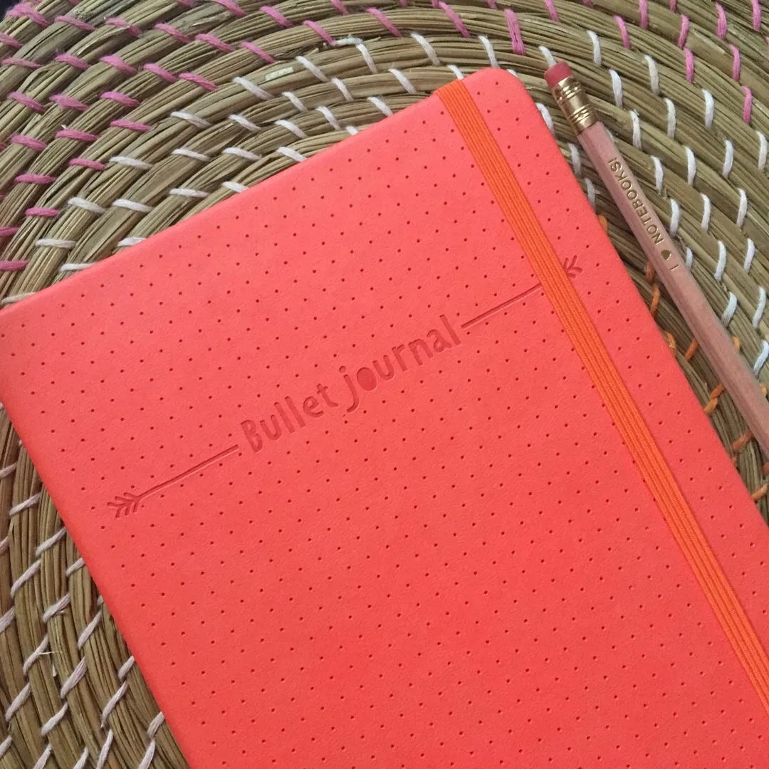 My coral coloured bullet journal reading for my project notes. Is it time to Shop Small?