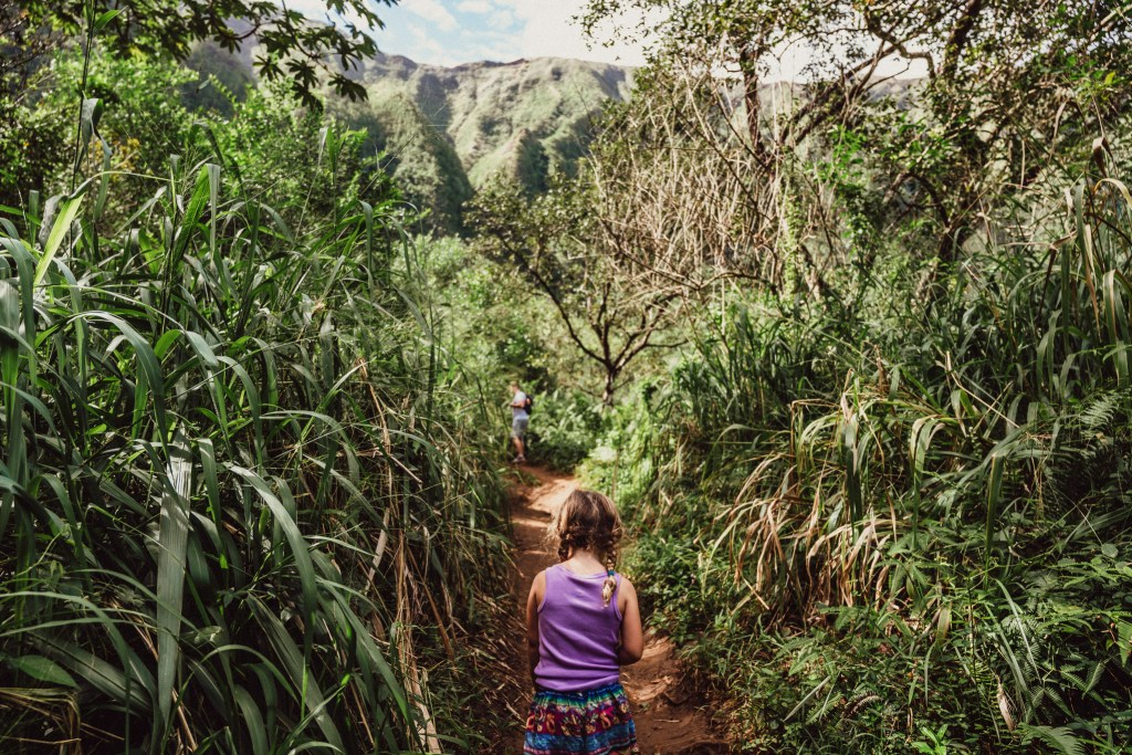 family activity to waterfall hamama falls trail oahu hawaii, kids in nature, unschooling