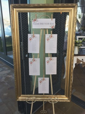 Gold Frame, wire seating chart $45. Available in other colours/frames. Easel $10