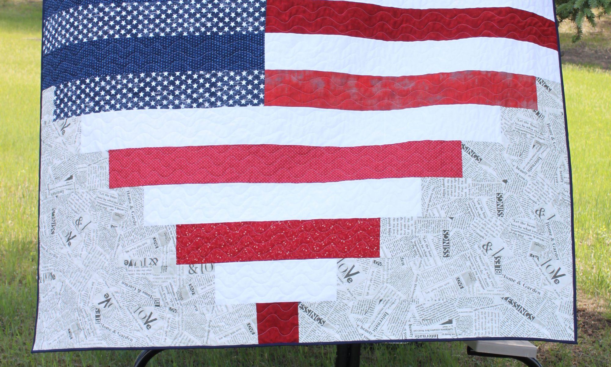 American Flag Heart Quilt Pixelated Heart
