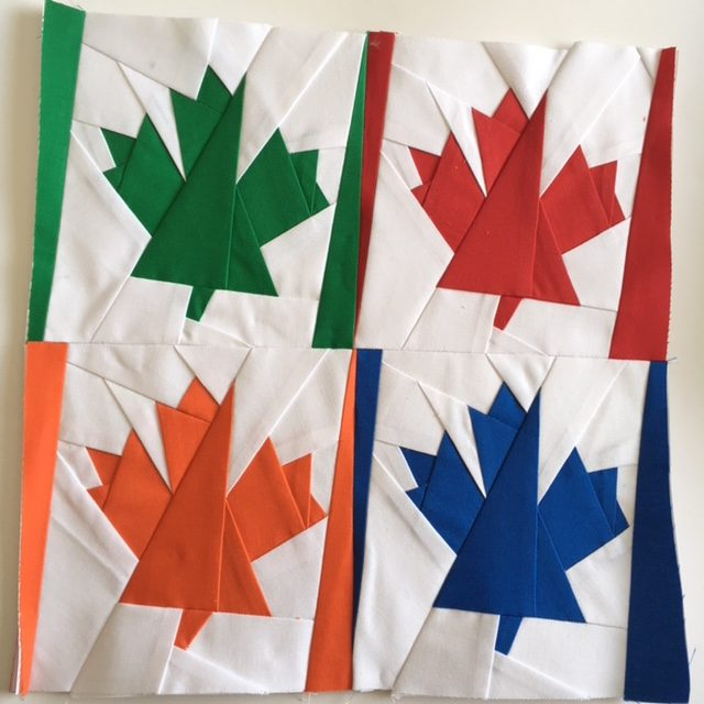 Foundation Paper Pieced Maple Leaf Block
