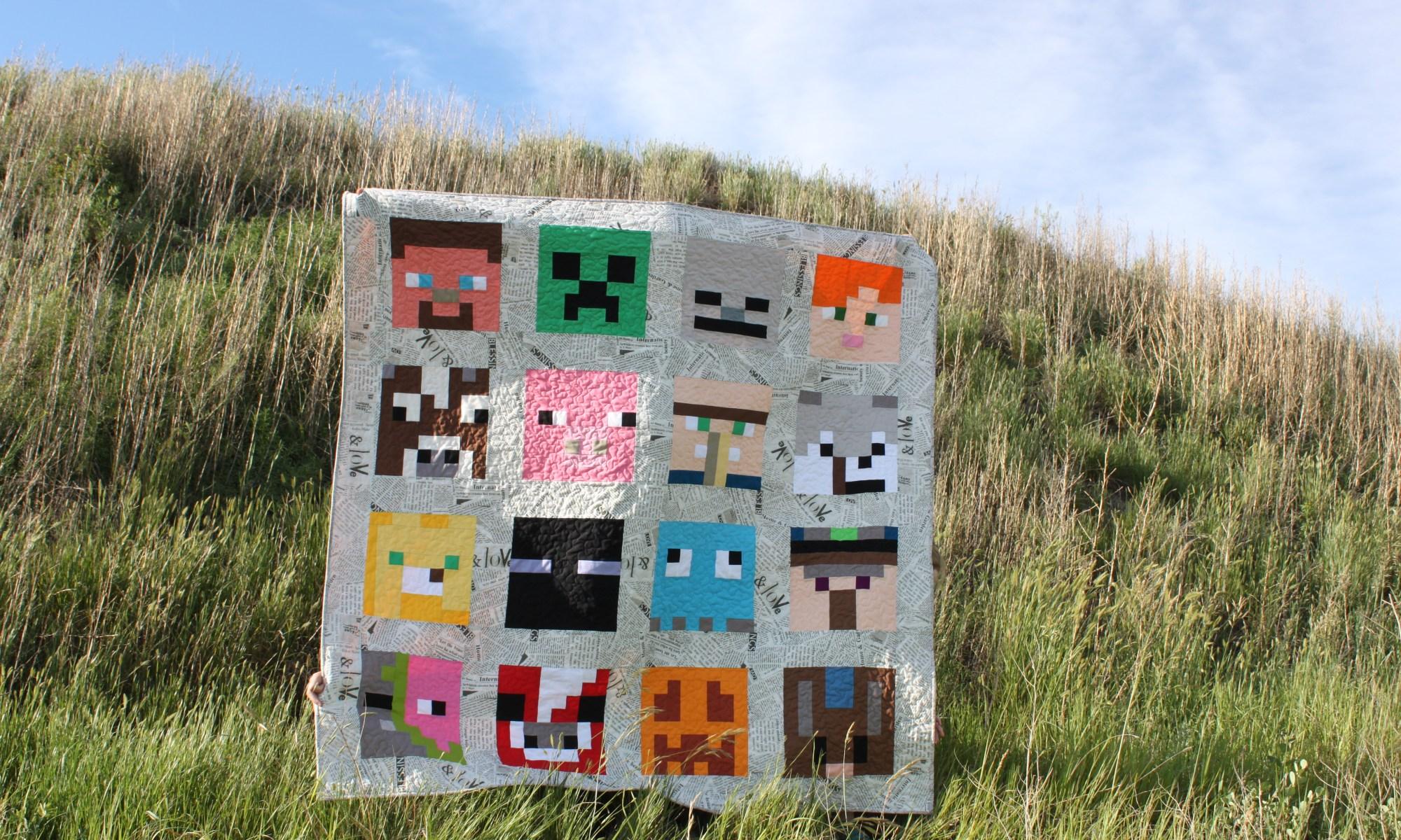 Minecraft Quilt with sixteen Minecraft character blocks.