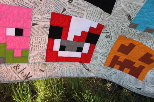 The Mooshroom Minecraft quilt block.