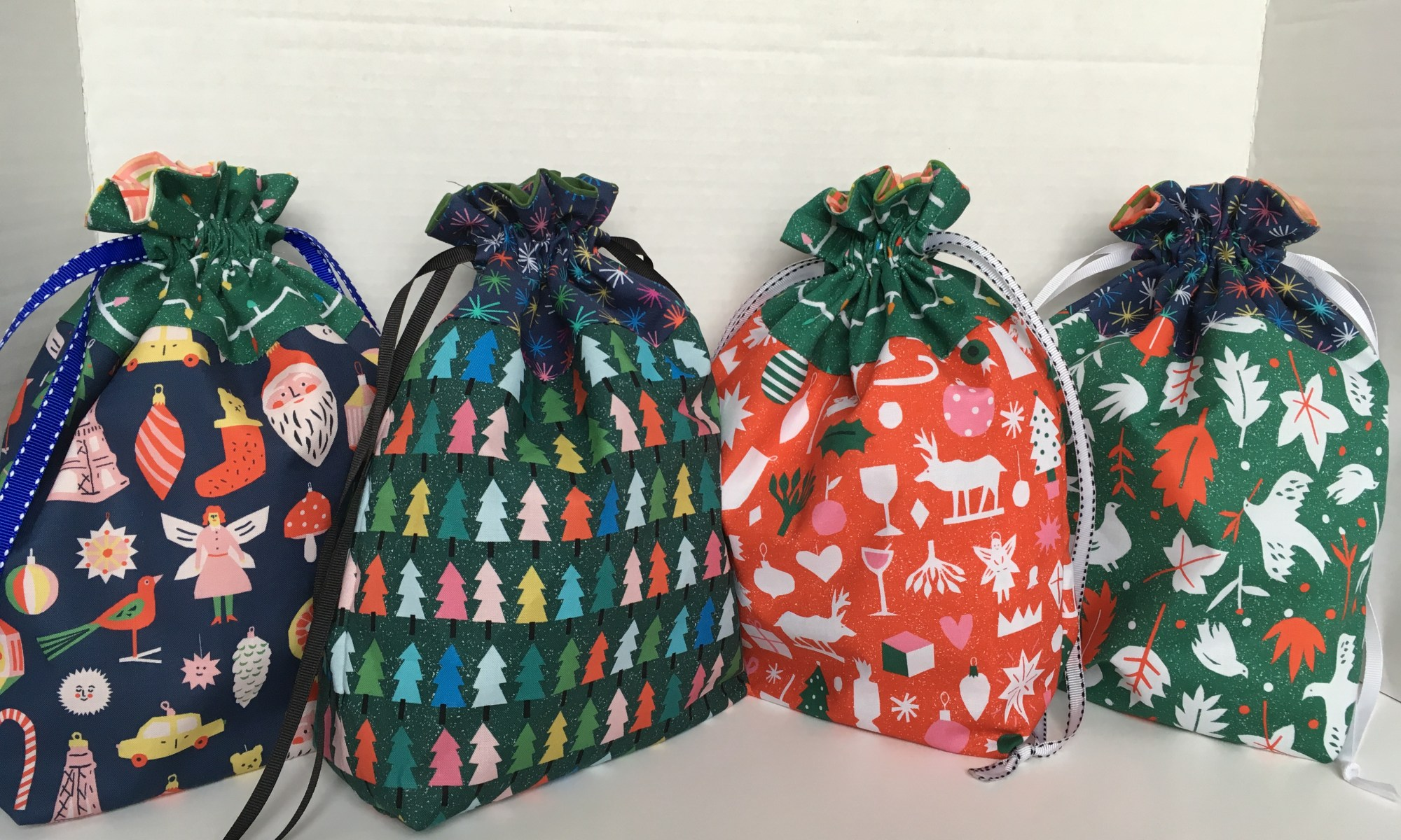 reusable drawstring fabric gift bags