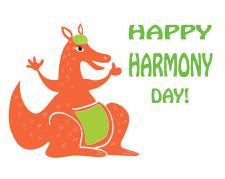 March 21st, Harmony Day 2019 in Australia - funny greeting card with cartoon Kangaroo