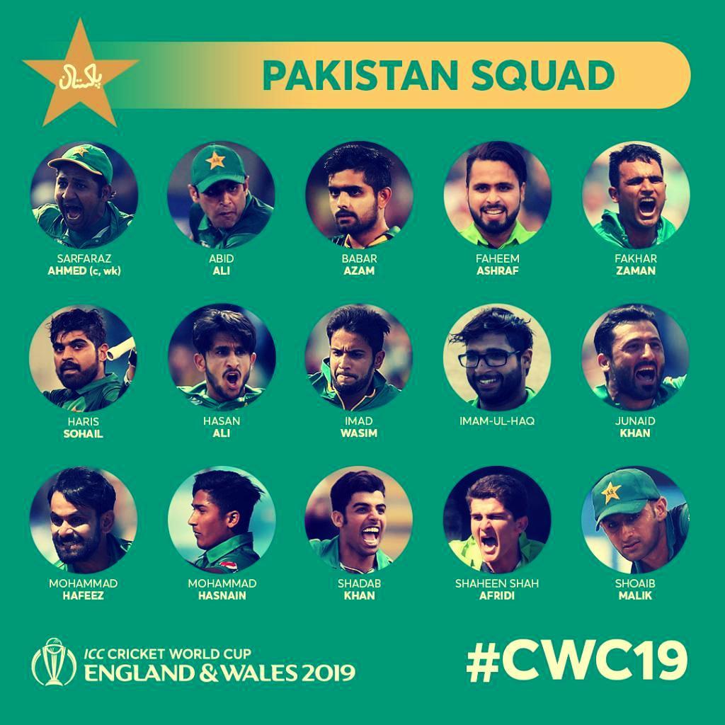 Pakistan Team Cricket World cup Squad 2019