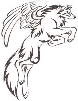 Как рисовать крылатого волка